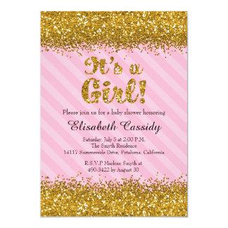 Pink & Gold Glitter Baby Girl Shower Invitation