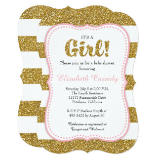 Pink & Gold Glitter Bracket Baby Shower Invitation
