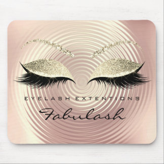 Pink Gold Glitter Branding Beauty Lashes Extension Mouse Pad