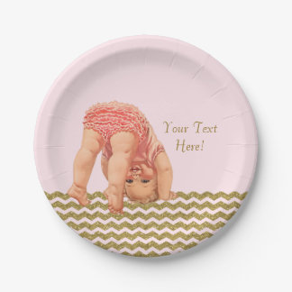 Pink Gold Glitter Chevron Baby Shower 7 Inch Paper Plate