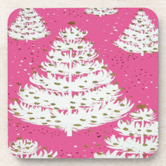 Pink Gold Glitter Christmas Holiday Tree Coaster