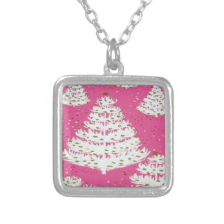 Pink Gold Glitter Christmas Holiday Tree Silver Plated Necklace