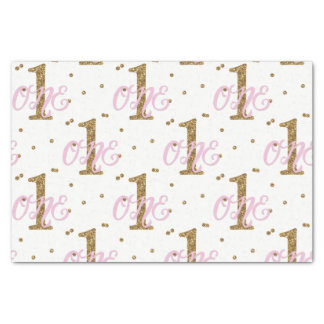 Pink & Gold Glitter Confetti 1 1st Birthday Party Tissue Paper