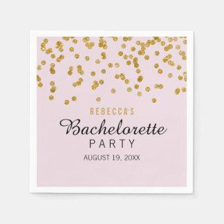 Pink Gold Glitter confetti Bachelorette Napkins Disposable Napkin