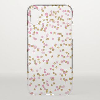 Pink, Gold Glitter Confetti iPhone X Case