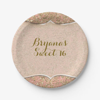 Pink & Gold Glitter Crystal Glam Birthday Party Paper Plate
