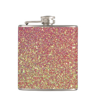 Pink Gold Glitter Faux foil Hip Flask