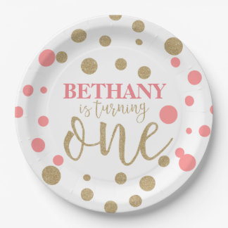 Pink & Gold Glitter First Birthday Paper Plates