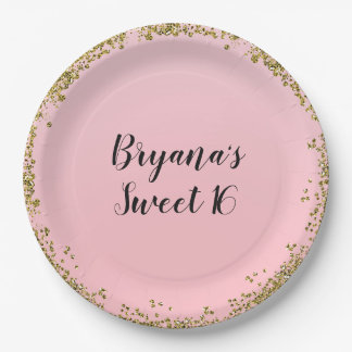 Pink Gold Glitter Glam Edge Sweet 16 Custom Party Paper Plate