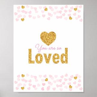 Pink & Gold Glitter Hearts Nursery Wall Print