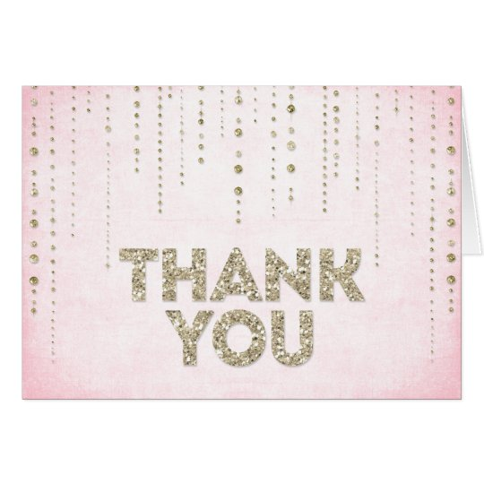 Pink & Gold Glitter Look Thank You Card
