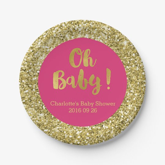 Pink Gold Glitter Oh Baby Baby Shower Plate 7 Inch Paper Plate
