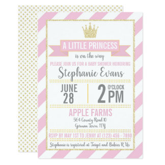 Pink Gold Glitter Princess Baby Shower Invitation