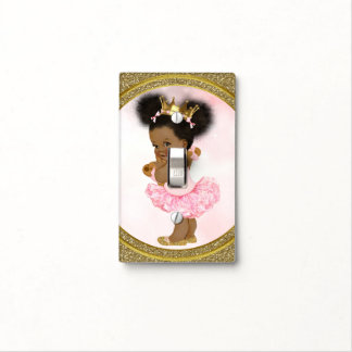 Pink & Gold Glitter Princess Vintage Baby Girl Light Switch Cover
