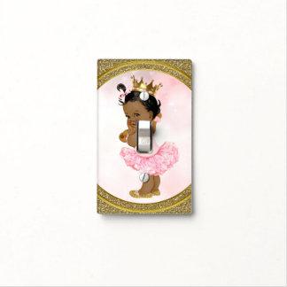 Pink Gold Glitter Princess Vintage Black Baby Girl Light Switch Cover