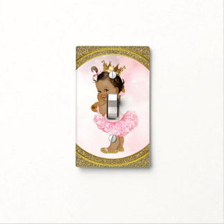 Pink & Gold Glitter Princess Vintage Tan Baby Girl Light Switch Cover