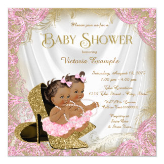 Pink Gold Glitter Shoe Twin Girl Baby Shower Card