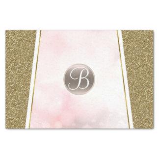 Pink Gold Glitter Sparkle Glam Monogram Initial Tissue Paper