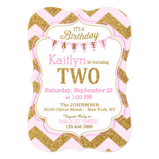 Pink Gold Glitter Sparkle Second Birthday Invite