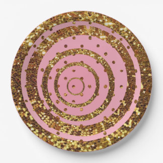 Pink & Gold Glitter Swirl and Polka Dot Plates
