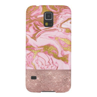 Pink Gold Gold Glitter and Sparkle Marble Galaxy S5 Cover