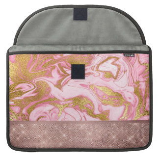 Pink Gold Gold Glitter and Sparkle Marble Sleeve For MacBook Pro