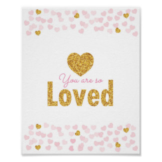 Pink & Gold Hearts Nursery Poster