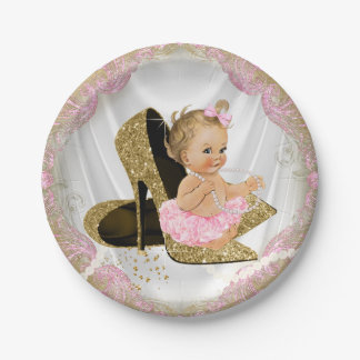 Pink Gold High Heel Baby Shower Paper Plate