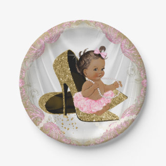 Pink Gold High Heel Ethnic Baby Shower Paper Plate