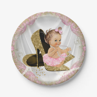 Pink Gold High Heel Girl Baby Shower Paper Plate