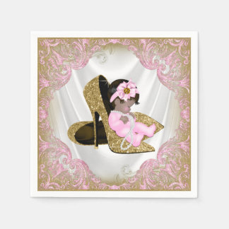 Pink Gold High Heel Shoe Ethnic Girl Baby Shower Paper Napkin