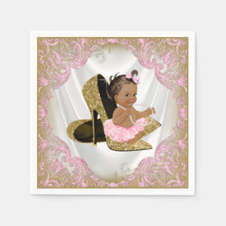 Pink Gold High Heel Shoe Etnic Girl Baby Shower Disposable Napkin