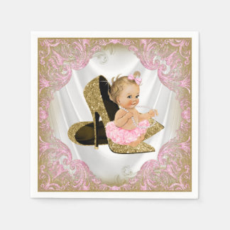 Pink Gold High Heel Shoe Pearl Girl Baby Shower Disposable Napkin