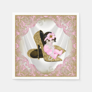 Pink Gold High Heel Shoe Pearl Girl Baby Shower Paper Napkins