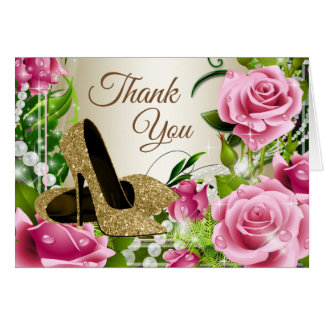 Pink Gold High Heel Shoe Roses Thank You Cards