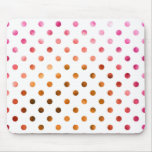 Pink Gold Holographic Metallic Faux Foil Polka Dot Mouse Pad