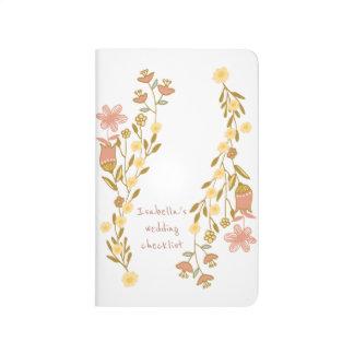 Pink Gold Honey Flowers Customized Wedding Journals