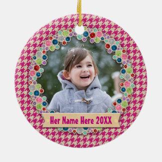 Pink Gold Houndstooth Holiday Photo Frame Monogram Round Ceramic Ornament
