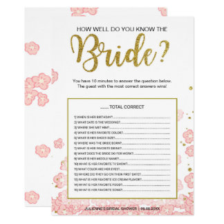 Pink Gold How Well Do You Know the Bride Game Card