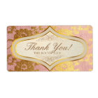 Pink Gold Lace Cream Wedding Label Thank You