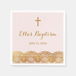 Pink Gold Lace Girl Baptism Napkin Paper Napkins