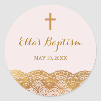 Pink Gold Lace Girl Baptism Sticker