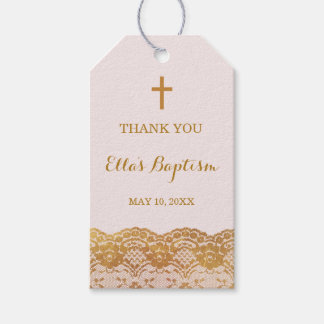 Pink Gold Lace Girl Thank You Baptism Tags