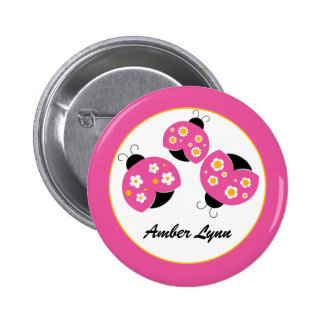 Pink & Gold Ladybugs 2 Inch Round Button