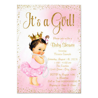 "Pink Gold Little Ballerina Tutu Pearl Baby Shower 4.5"" X 6.25"" Invitation Card"