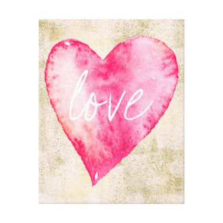 Pink Gold Love Heart Watercolor Canvas Print