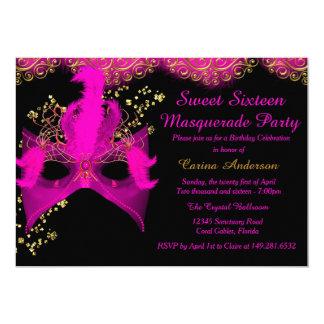 "Pink Gold Mask Masquerade Sweet 16 Birthday 5"" X 7"" Invitation Card"