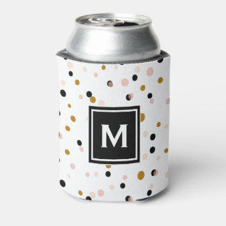 Pink & Gold Modern Confetti Dots Pattern Monogram Can Cooler
