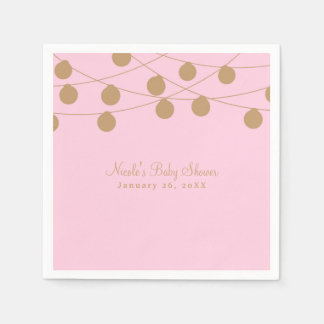 Pink & Gold Modern String Lights Chic Party Paper Napkin