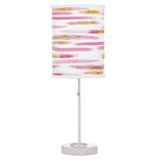 Pink & Gold Paint Striped Lamp